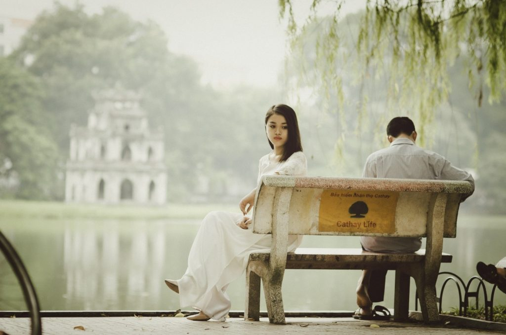 A Couple Sitting on bench