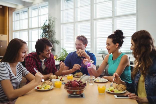 Freinds having lunch in break time