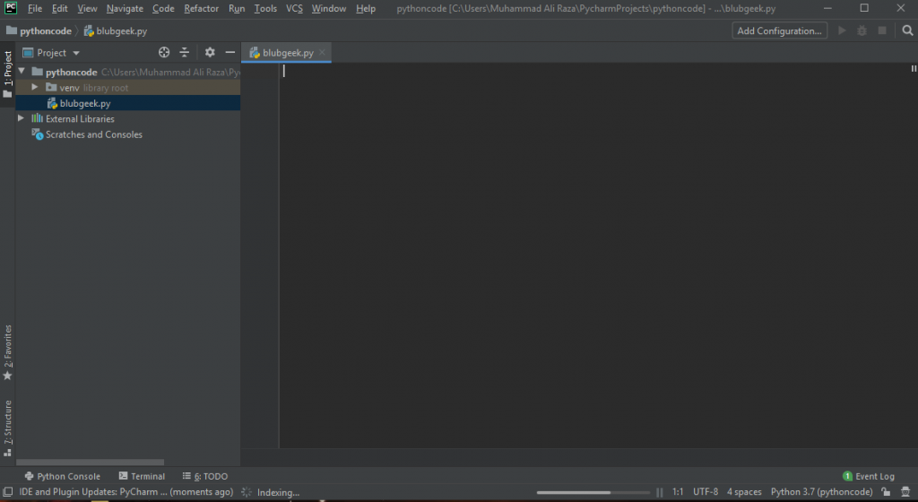 Pycharm interface Part 1