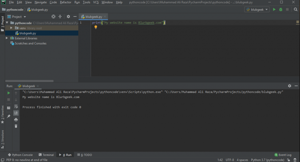 Pycharm interface Part 2