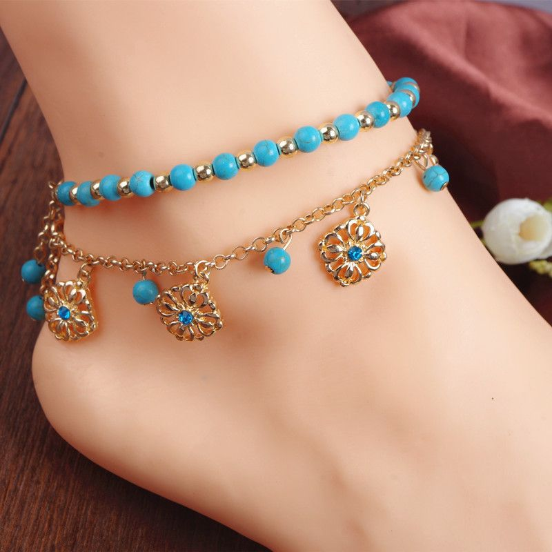 Turquoise Stone Anklet - Foot Jewelry