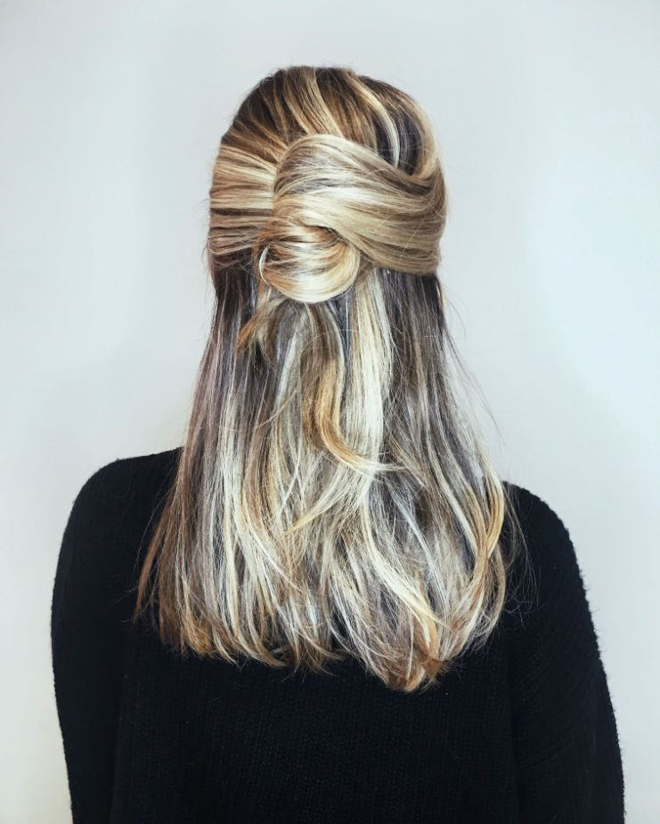 Half French Twist For Long Hairs